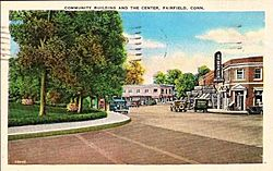 Postcard of Fairfield, Connecticut c 1938 showing corner of Post Road and Old Post Road