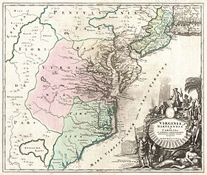 1715 Homann Map of Carolina, Virginia, Maryland and New Jersey - Geographicus - VirginiaMarylandiaCarolina-homann-1715