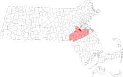 Location in Norfolk County in Massachusetts