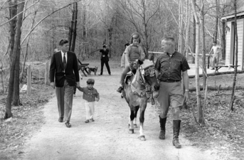 JFK & Kids with horse at Camp David, 1963