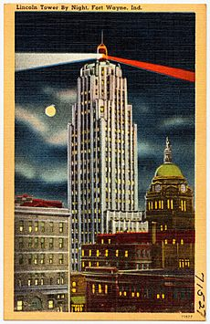 Lincoln Tower by night, Fort Wayne, Ind (71527)