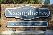 Nacogdoches, TX, entrance sign IMG 3972