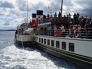 "Paddle steamer ""Waverley"" leaving Helensburgh pier"