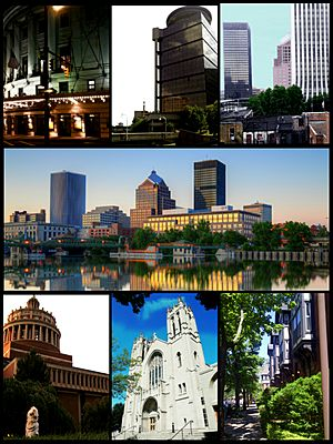 (top to bottom, left to right) the Downtown Rochester Skyline, High Falls (Rochester, New York), Rush Rhees Library at the University of Rochester, Kodak Tower, Times Square Building, Midtown Plaza