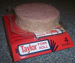 Taylor pork roll slices on pkg