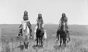 Three mounted Comanche warriors - 1892