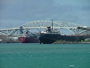 Two Lake Freighters Loading in Sarnia