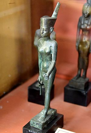 Bronze statuette of Neith. She wears the Red Crown of Lower Egypt. The hieroglyphic inscriptions, partially erased, mention the name of Padihor. From Egypt. Late Period. The British Museum, London