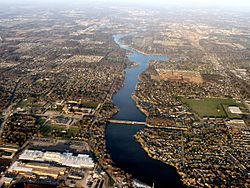 Osceola, with St. Joe River flowing west to Mishawaka (bottom). Baugo Bay is in the upper right. Elkhart is in the distance.
