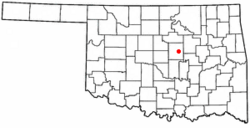 Location of Davenport, Oklahoma
