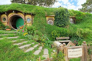 Baggins residence 'Bag End' with party sign