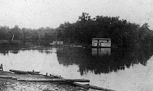 Floating saloons on the Pearl River, Mississippi, 1907