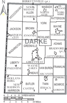 Map of Darke County Ohio With Municipal and Township Labels