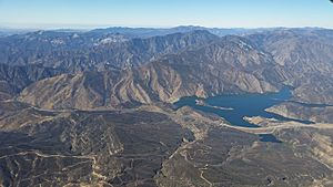 Pyramid Lake seen from the air, Pacific Ocean in the distance