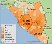 2014 West Africa Ebola virus outbreak situation map