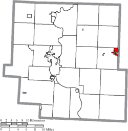 Location of New Concord in Muskingum County
