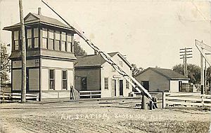 Slocums station 1909 postcard