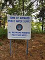 Town of Maynard Water Supply Sign at White's Pond in Stow Massachusetts