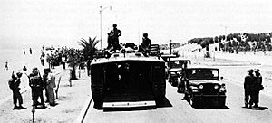 Marines of Battalion Landing Team 2/2 form a LVT and tank column on the beach road for the move into Beirut on 16 July 1958