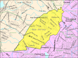 Census Bureau map of East Hanover, New Jersey