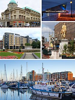 A montage of Kingston upon Hull. Includes (left to right from top left) Hull City Hall, The Deep, BBC building, King Billy statue and the Marina.