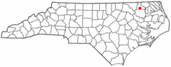 Location of Ahoskie, North Carolina