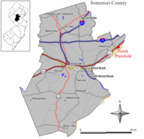 Map of North Plainfield in Somerset County. Inset: Location of Somerset County on New Jersey.