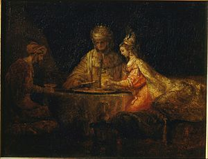 Rembrandt Harmensz van Rijn - Ahasuerus, Haman and Esther - Google Art Project