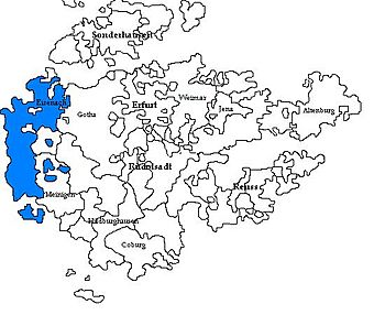 Saxe-Eisenach, shown amongst the other 18th-century Ernestine duchies