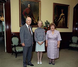 The Duchess of Kent with Sir Walter Campbell and Lady Campbell at Government House, Brisbane