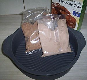 Cake mix in plastic packet photo