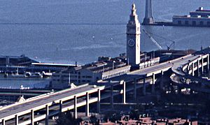 Ferry Building and Embarcadero Freeway, February 1982
