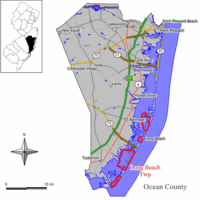 Map of Long Beach Township in Ocean County. Inset: Location of Ocean County highlighted in the State of New Jersey.