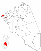 Palmyra highlighted in Burlington County. Inset map: Burlington County highlighted in the State of New Jersey.