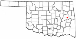 Location of Warner, Oklahoma