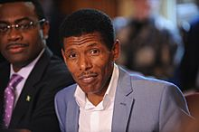 Olympic great Haile Gebrselassie speaking at the Olympic hunger summit in Downing Street, 12 August 2012.jpg
