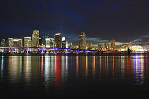 A306, Skyline at twilight, Miami, Florida, USA, 2010