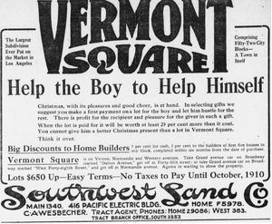 Advert for Vermont Square tract of Los Angeles, 1909