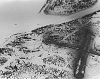 Aerial winter view of the village of ambler Alaska