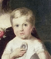 A painting of a blond toddler in a white dress being supported by another child wearing a blue dress.