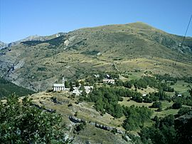 The village of Rabou and the summit of Puy, at 1,834 m (6,017 ft)