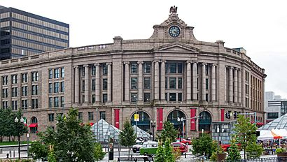 South Station from Dewey Square, September 2011.jpg
