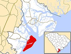 Location of Hilton Head Island in Beaufort County and South Carolina
