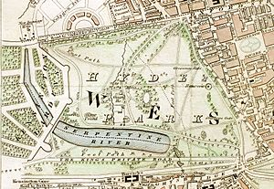 Hyde Park London from 1833 Schmollinger map