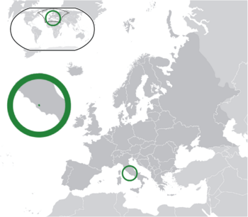 Location of  Vatican City  (green)on the European continent  (dark grey)  —  [Legend]