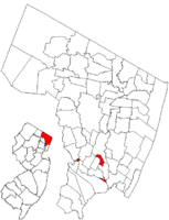 Map highlighting South Hackensack's location within Bergen County. Inset: Bergen County's location within New Jersey.