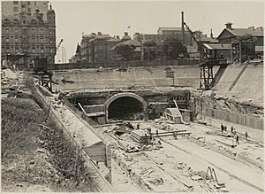 Open cut underground railway now completed, Museum Station, Sydney, New South Wales, ca. 1925 (9781167304)