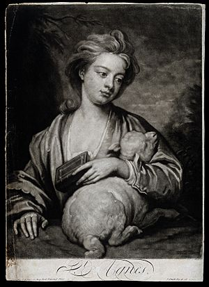 Saint Agnes. Mezzotint by J. Smith, 1716, after Sir G. Knell Wellcome V0031505