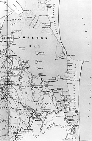 StateLibQld 1 120628 Map of Moreton Bay and surrounding land masses, ca. 1886