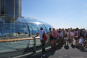 View of i360 in August 2016 - passengers entering pod